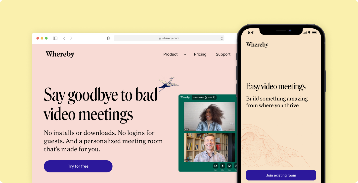 Say goodbye to bad video meetings with Whereby.
