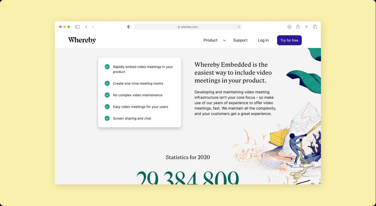 UI from Whereby website