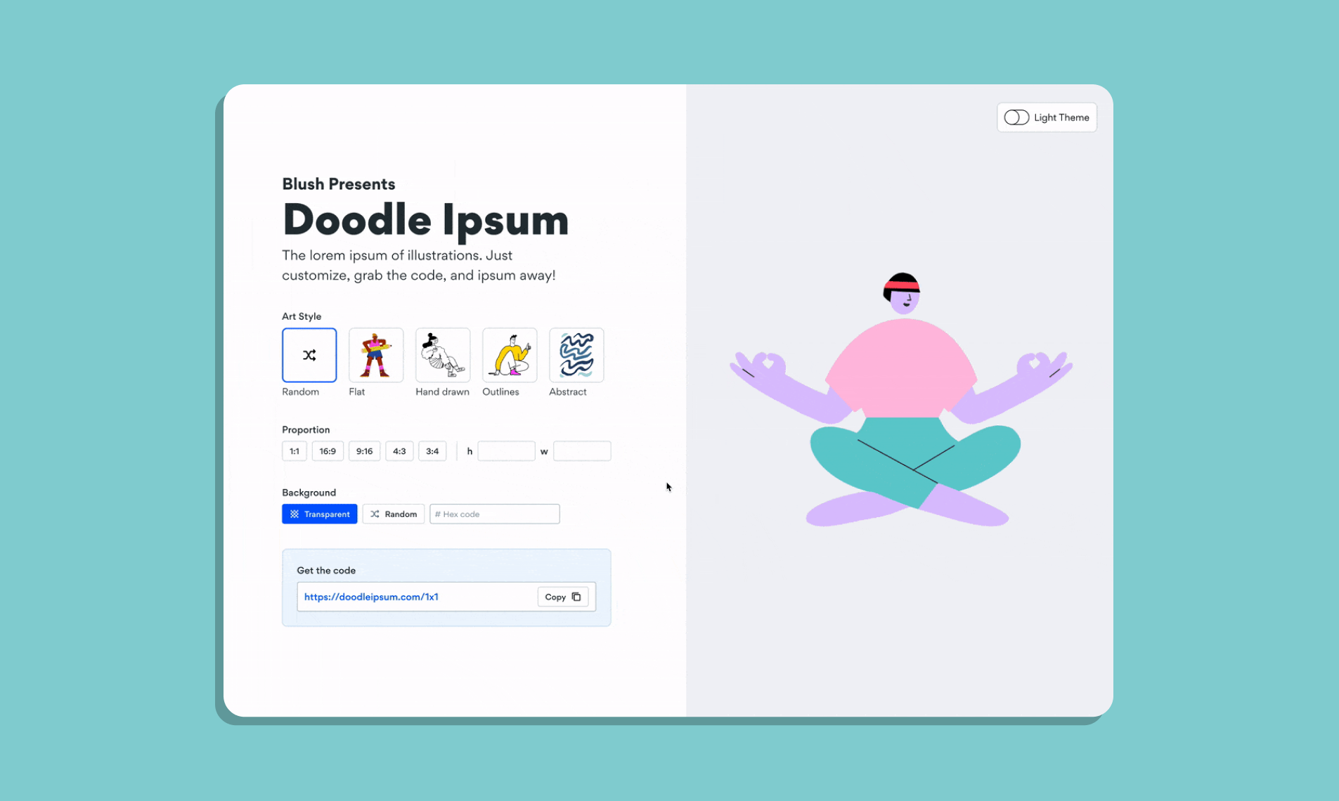 Blush presents Doodle Ipsum. An example of the website UI