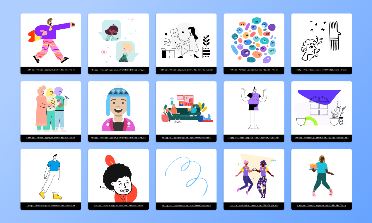 Different illustrations styles available on Doodle Ipsum