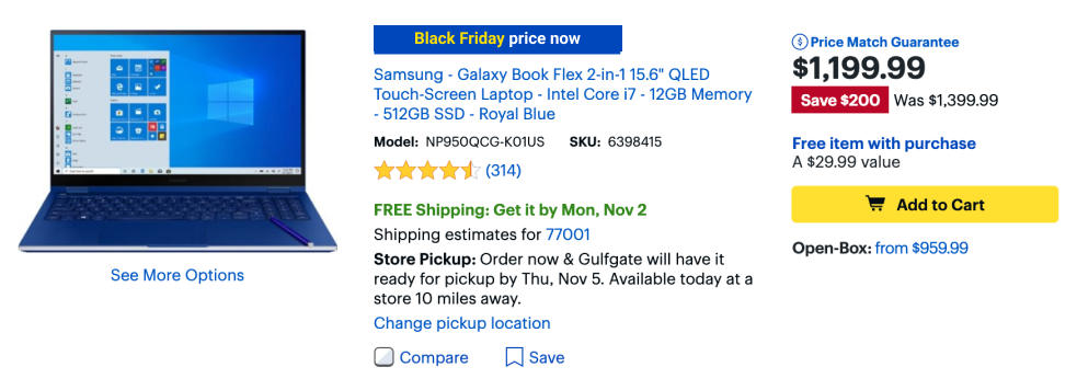 Show Black Friday discounts on details pages