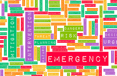 colorful group of disaster-related words