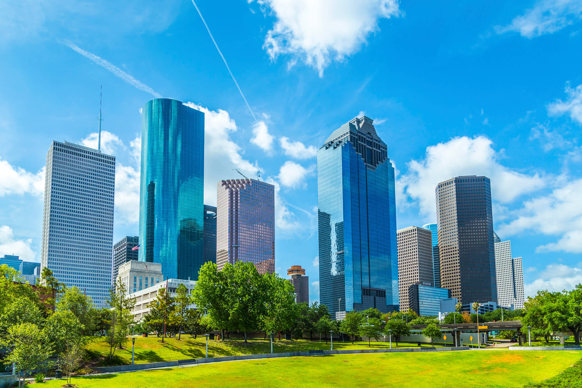Skyline of Houston against blue skies