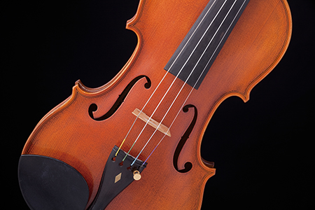 violin against dark background