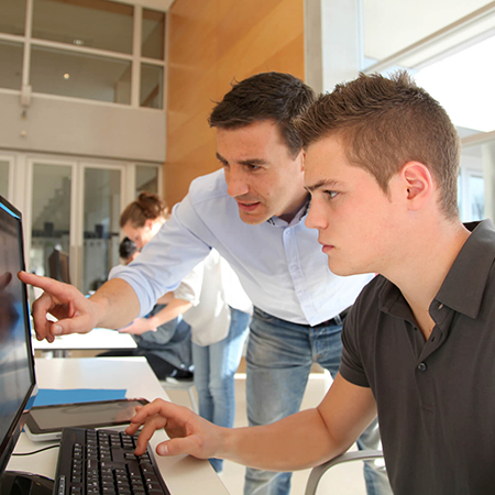 male employee looking at computer with mentor