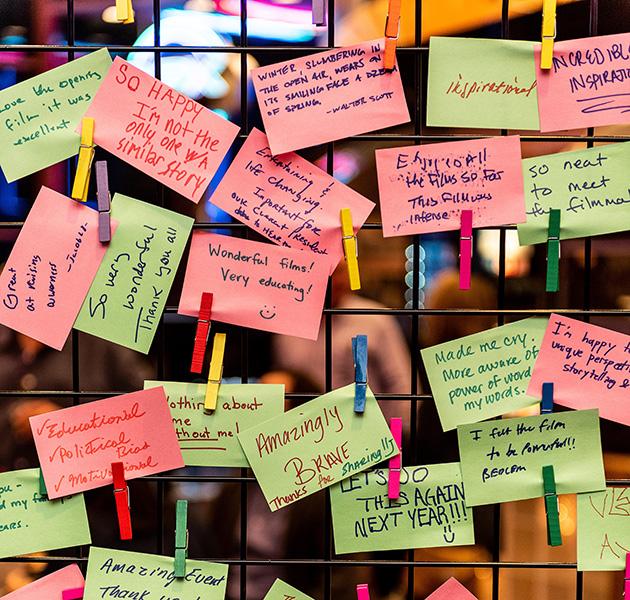 post it note messages on ReelAbilities feelings wall