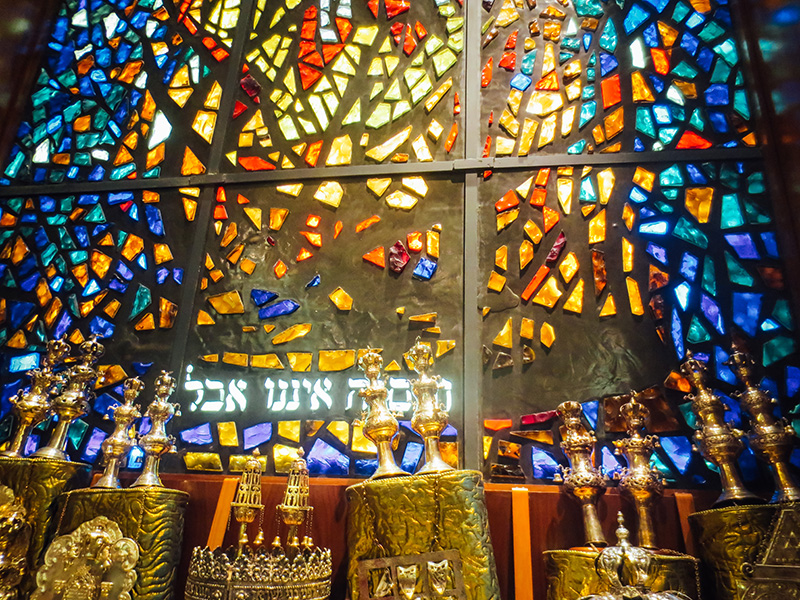 colorful stained glass window in synagogue