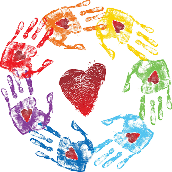 colorful handprints surrounding red heart