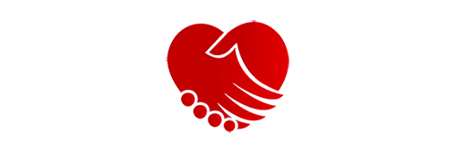 red heart shaped Touching the Heart logo