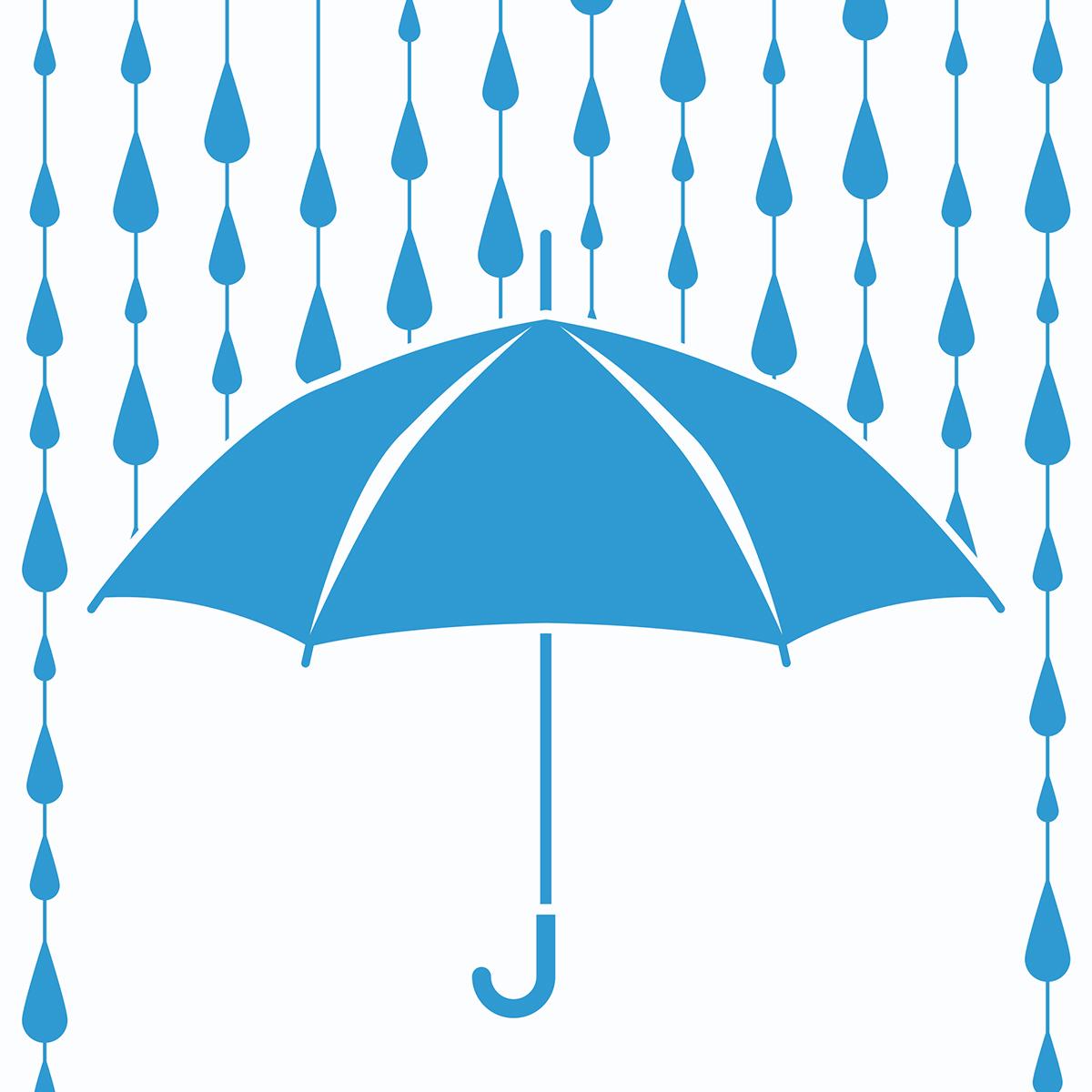 blue umbrella with raindrops falling