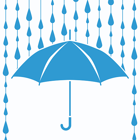 blue umbrella with raindrops falling