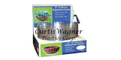 Curtis Wagner Plastics Corp. logo imposed on floral hanging basket