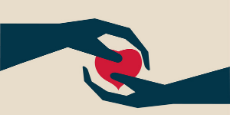Illustration of one hand offering another a heart