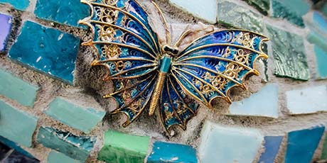 colorful mosaic with enamel butterly
