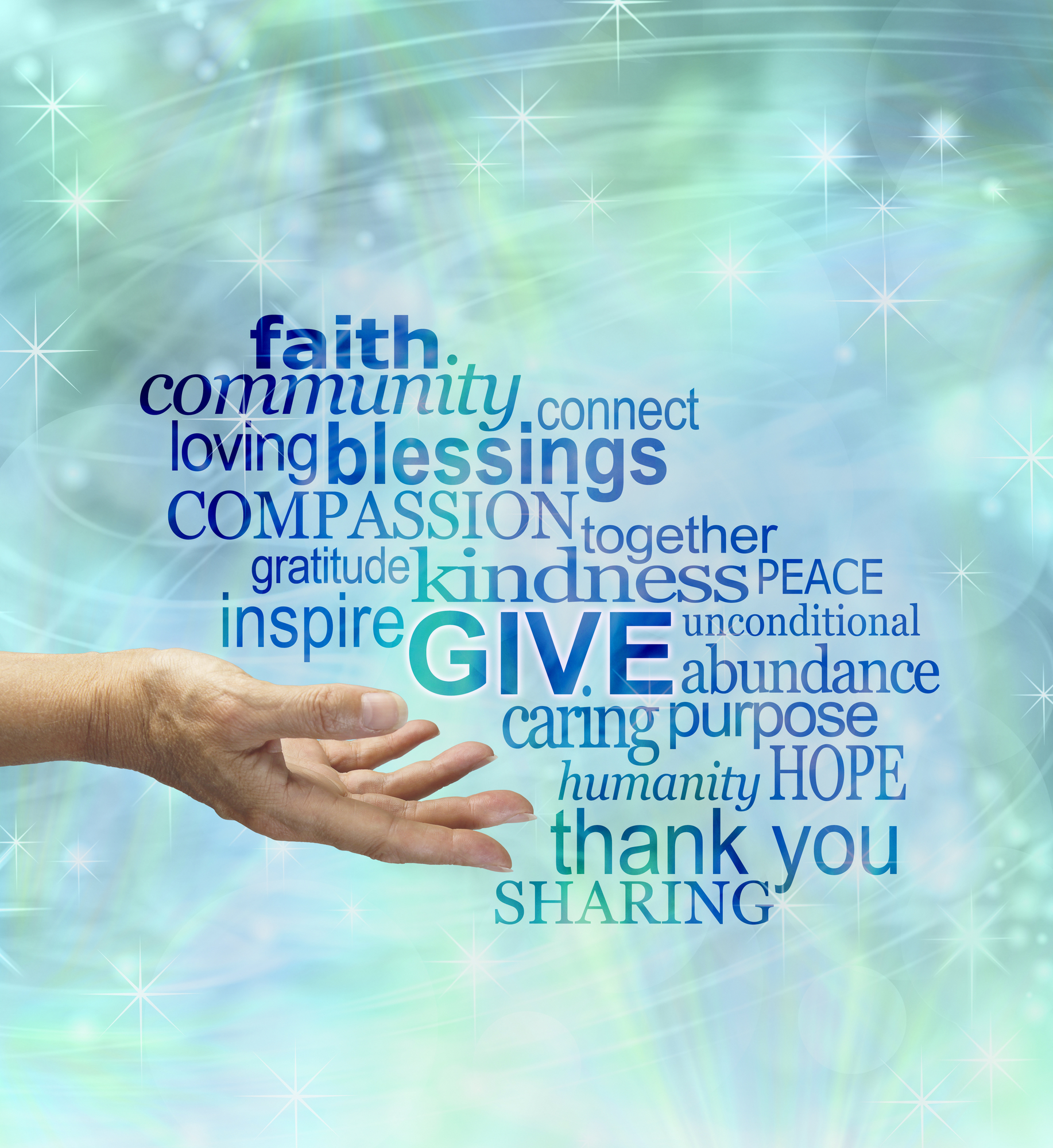 Hand holding words of inspiration including faith, community, loving, blessings, kindness.
