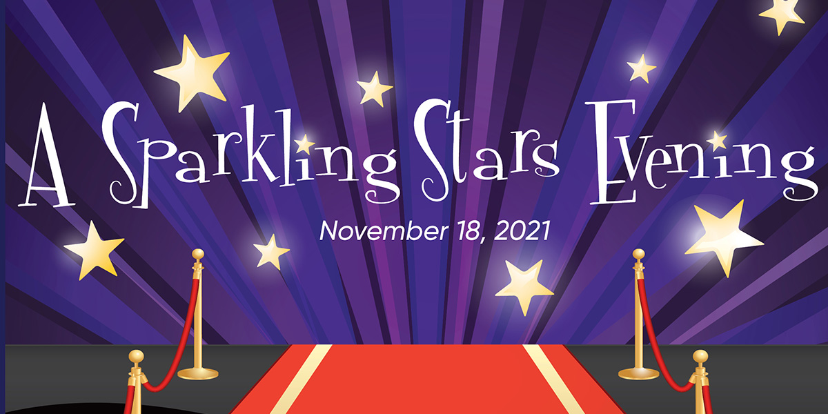 image of red carpet leading to curtain with stars and the words A Sparking Star Evening November 18, 2021