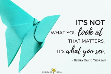 """Quotation from Henry David Thoreau: """"It's not what you look at that matters, it's what you see."""""""