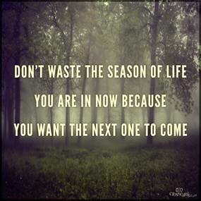 Graphic: Don't waste the season of life you are in now because you want the next one to come.