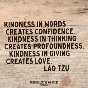 """Kindness in worlds creates confidence. Kindness in thinking creates profoundness. Kindness in giving creates love."" - Lao Tzu"