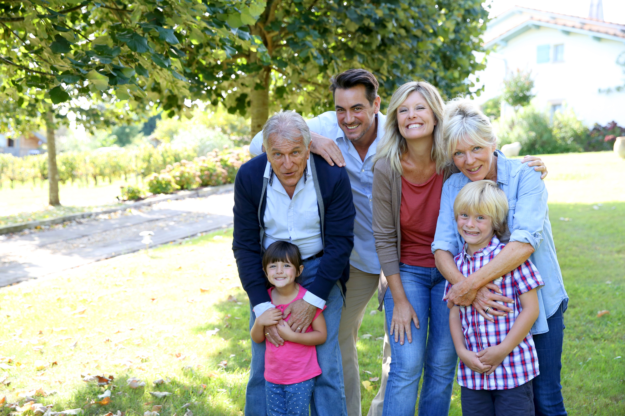 Multi-generational family in a park