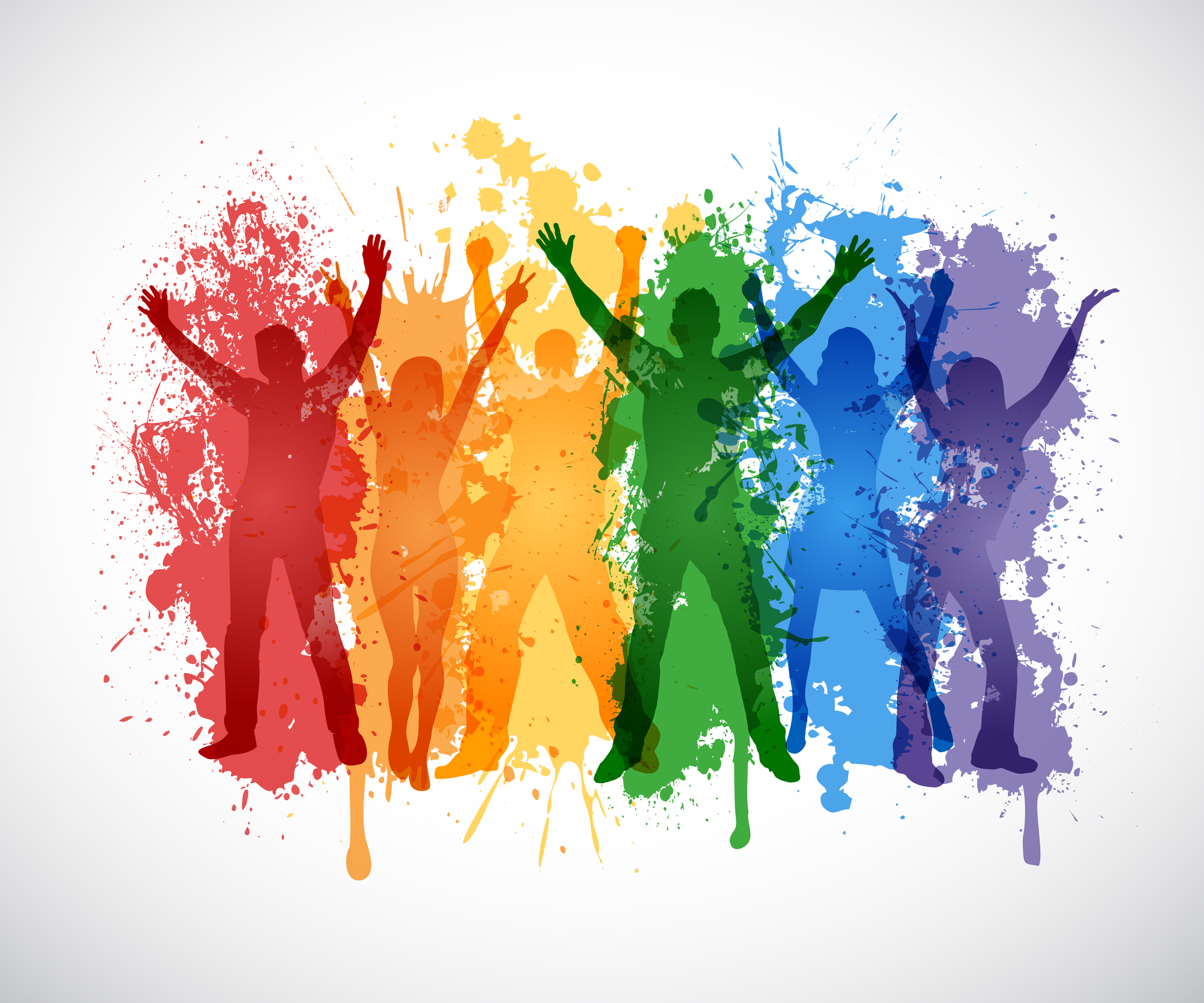 Graphic with various colors painted over silhouettes of people cheering