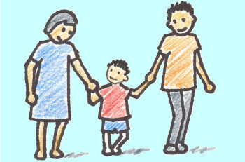 Crayon drawing of man and woman holding hands with child in the center