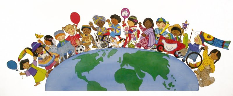 Graphic of earth with children from various cultural backgrounds