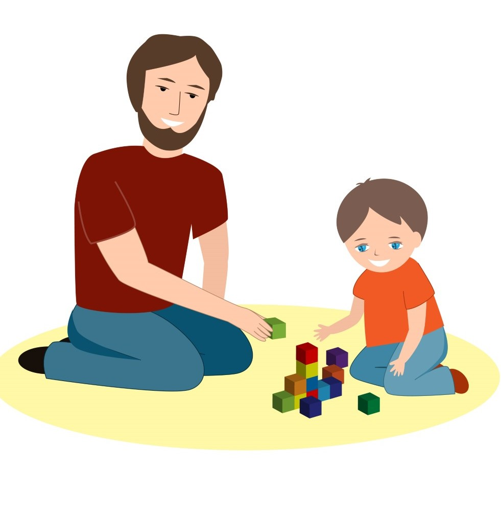 Graphic of man playing with blocks on floor with child