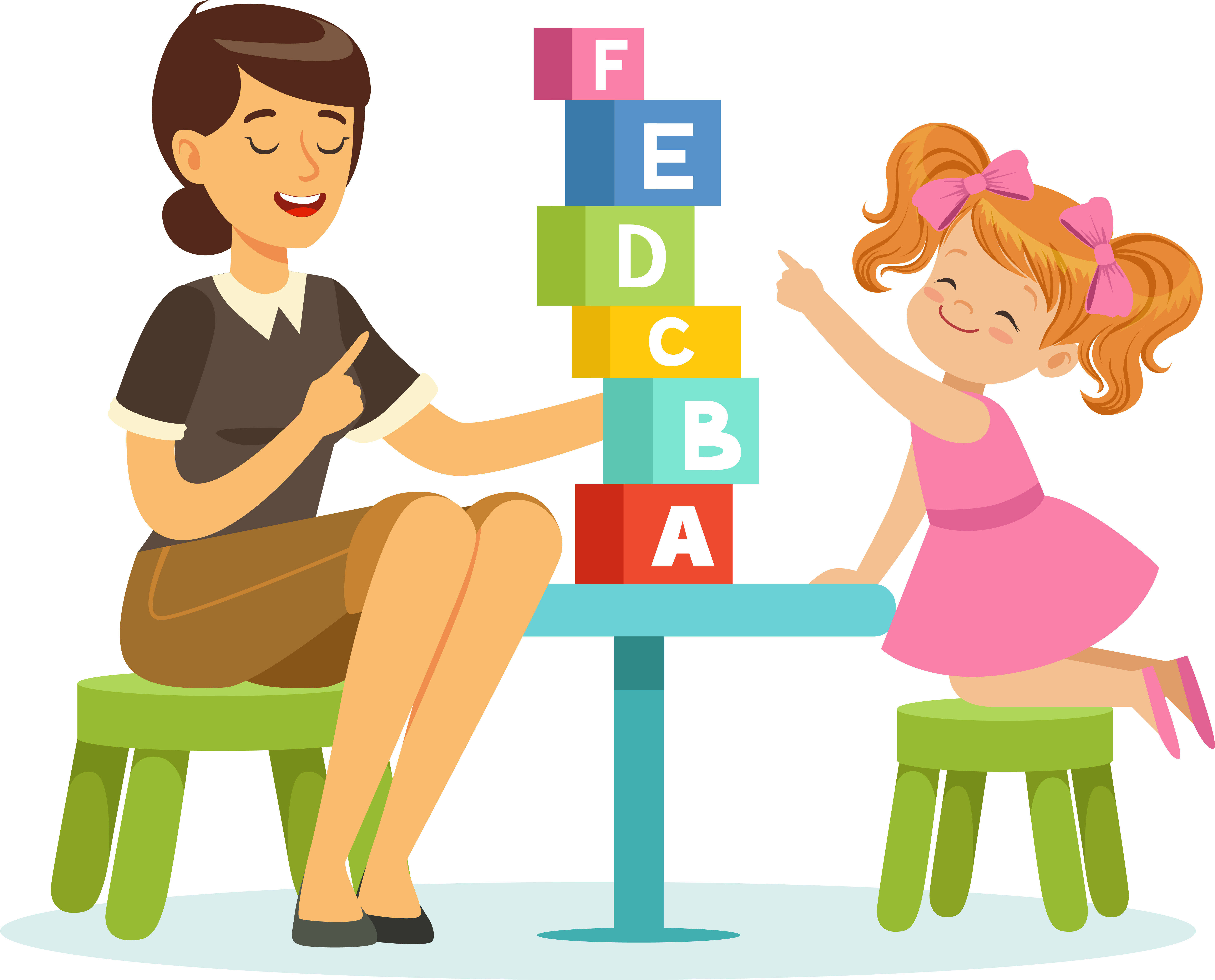 Graphic of woman playing blocks with a child
