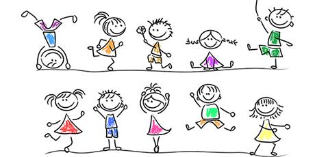 cute cartoon drawings of children playing
