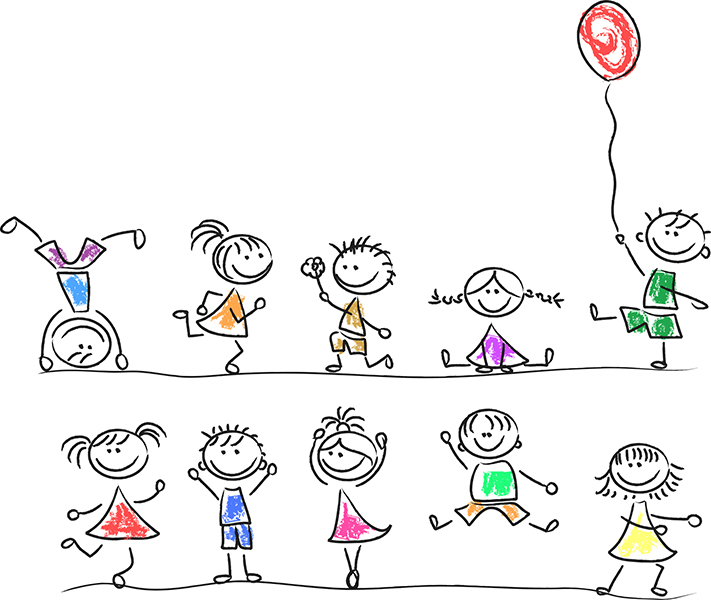 cute cartoon drawings of children playing