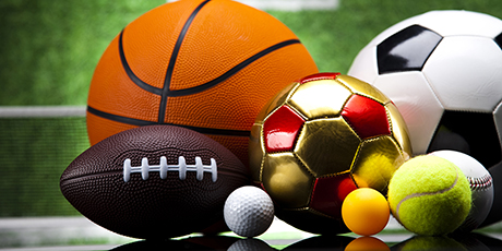 sports items including basketball, soccer ball, tennis ball