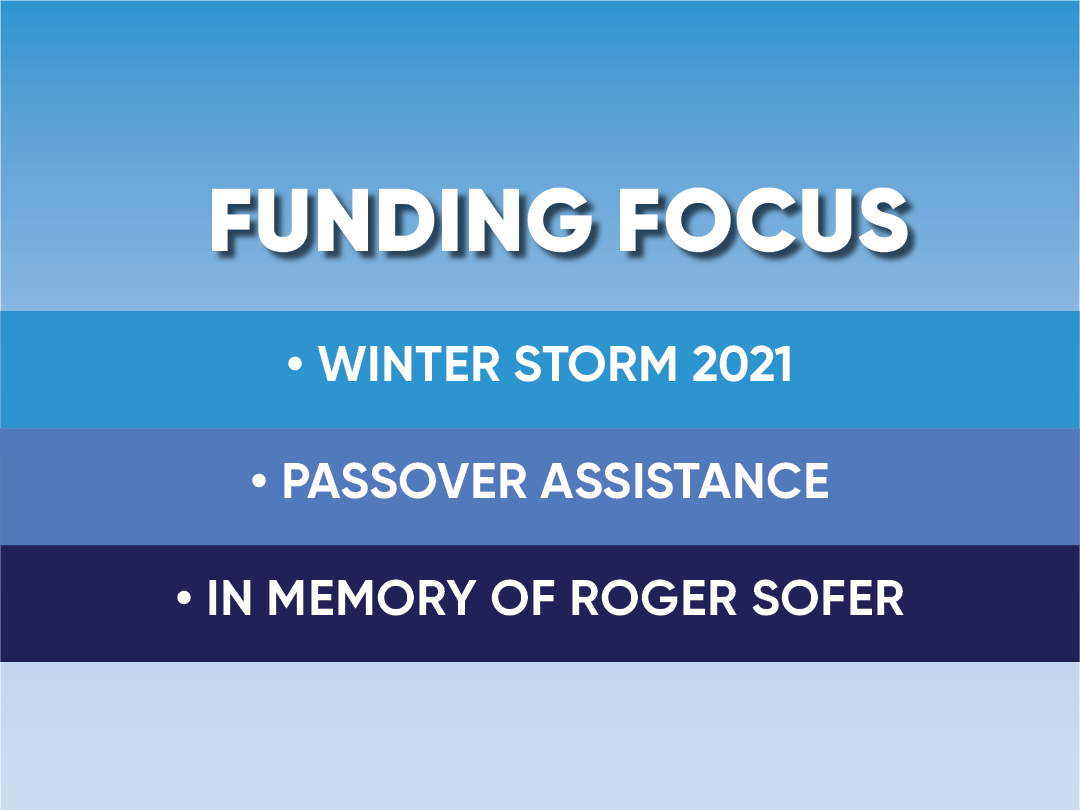 Funding focus: Winter Storm 2021, Passover Assistance, In Memory of Roger Sofer