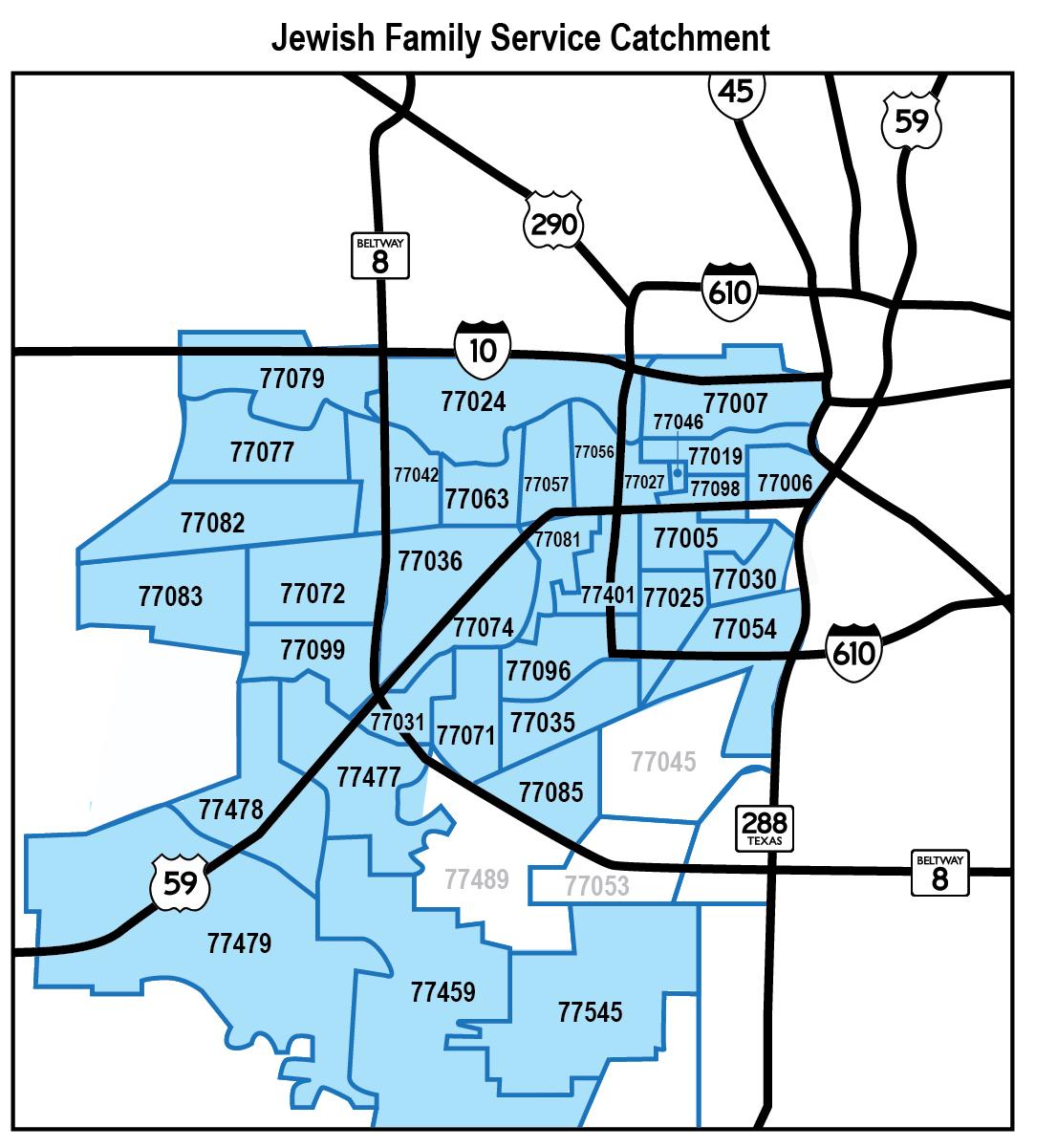 map of JFS catchment area