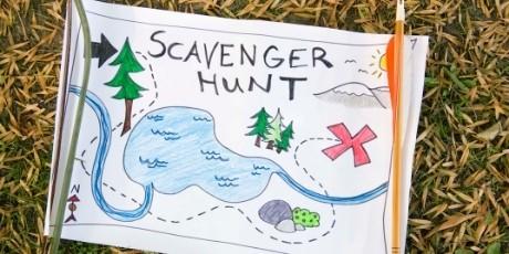 A scavenger hunt map