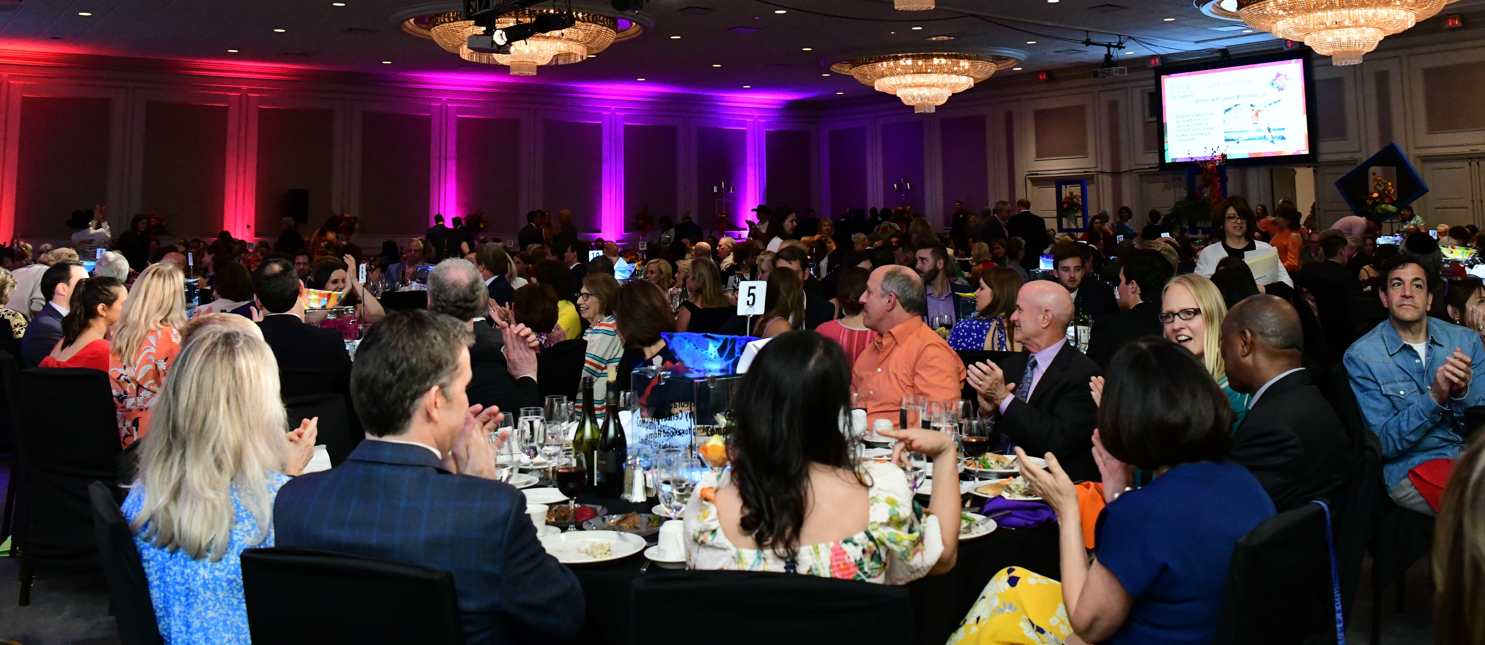 Image of a large room filled with donors sitting at tables during the JFS 2019 event