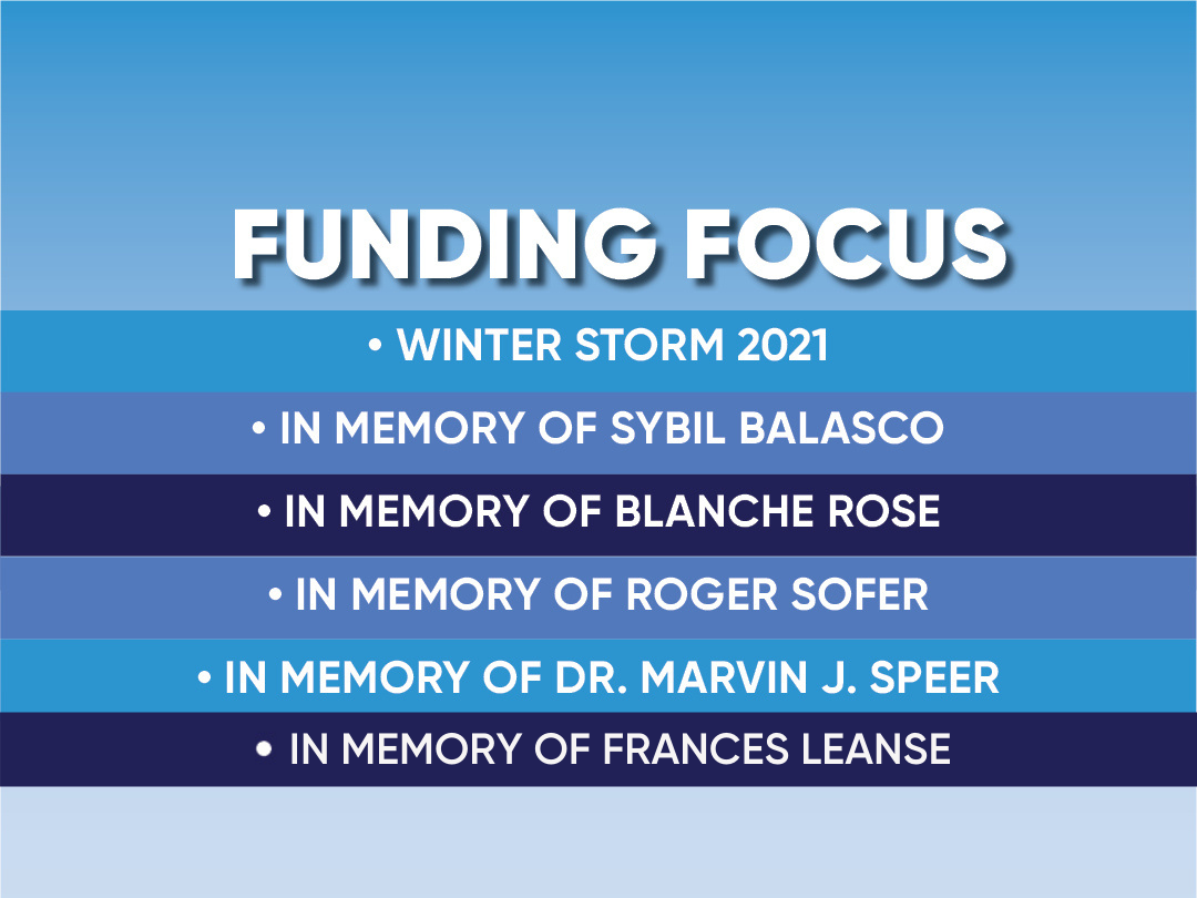 Funding focus: Winter Storm 2021, Passover Assistance, In Memory of Sybil Balasco, Blanche Rose, Roger Sofer, Dr. Marvin Speer, and Frances Leanse