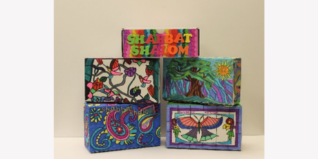 five colorfully decorated shabbat boxes