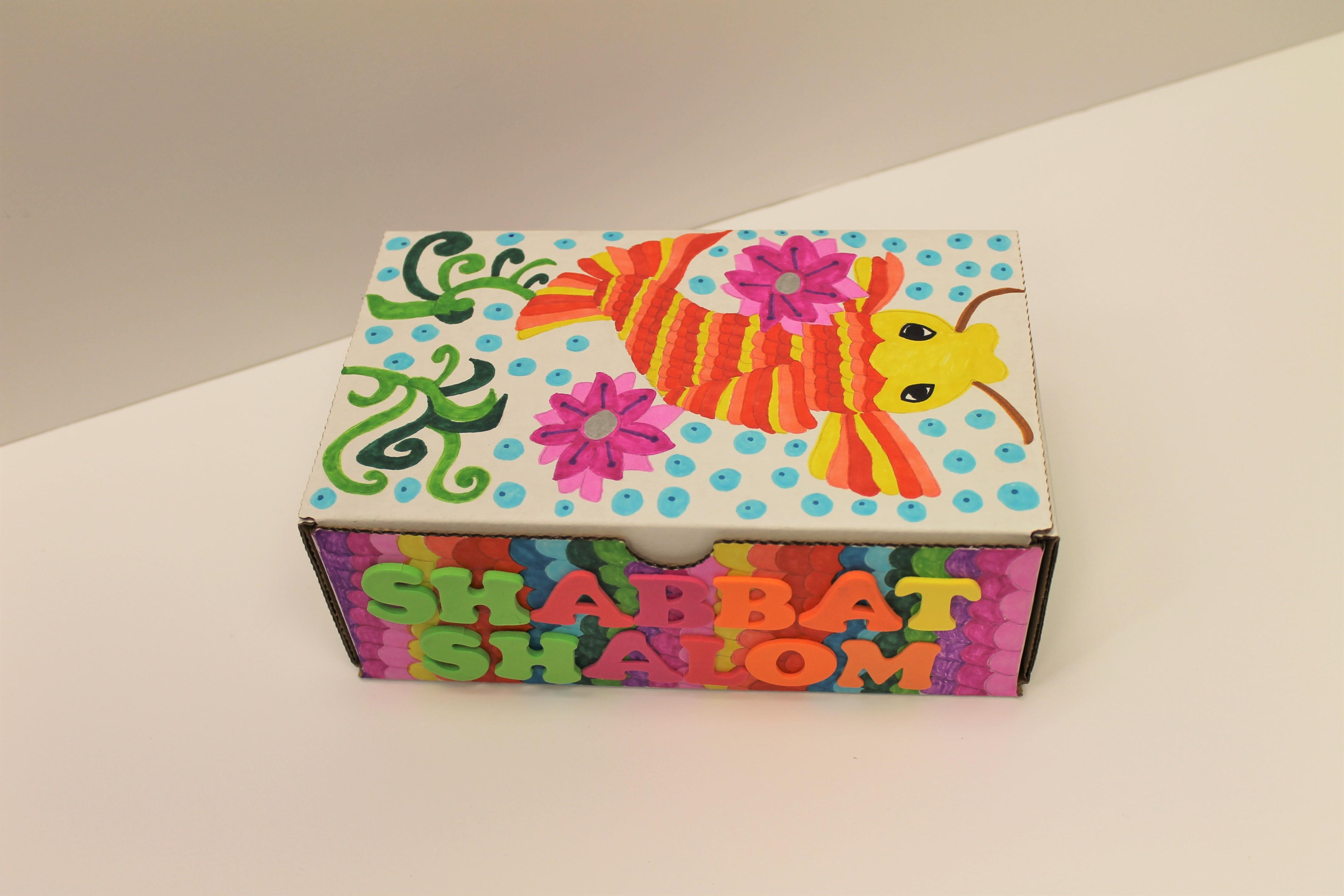 colorful shabbat box with koi fish