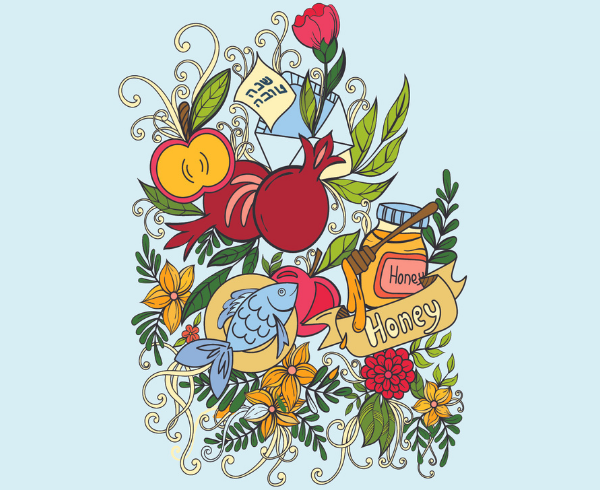 illustration of food items associated with high holidays and flowers