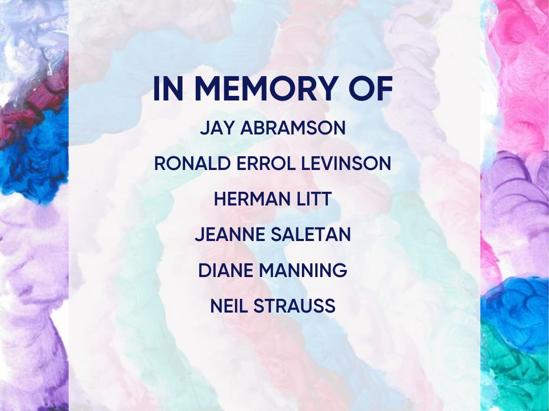 Funding focus: In Memory of Jay Abramson, Ronald Errol Levinson Herman Litt, Kimberly Saghain, Jeanne Saletan, Diane Manning, Neil Strauss
