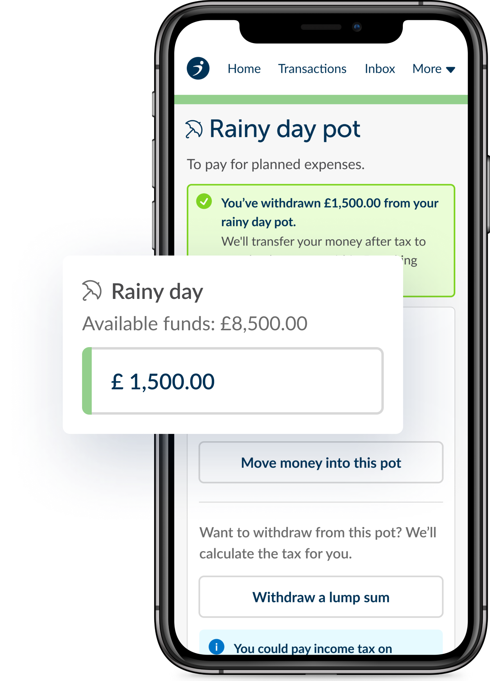 A smartphone showing money being withdrawn from the rainy day pot