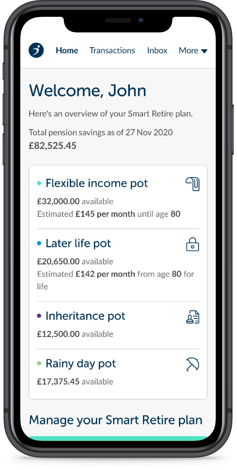 A smartphone showing the Smart Retire dashboard
