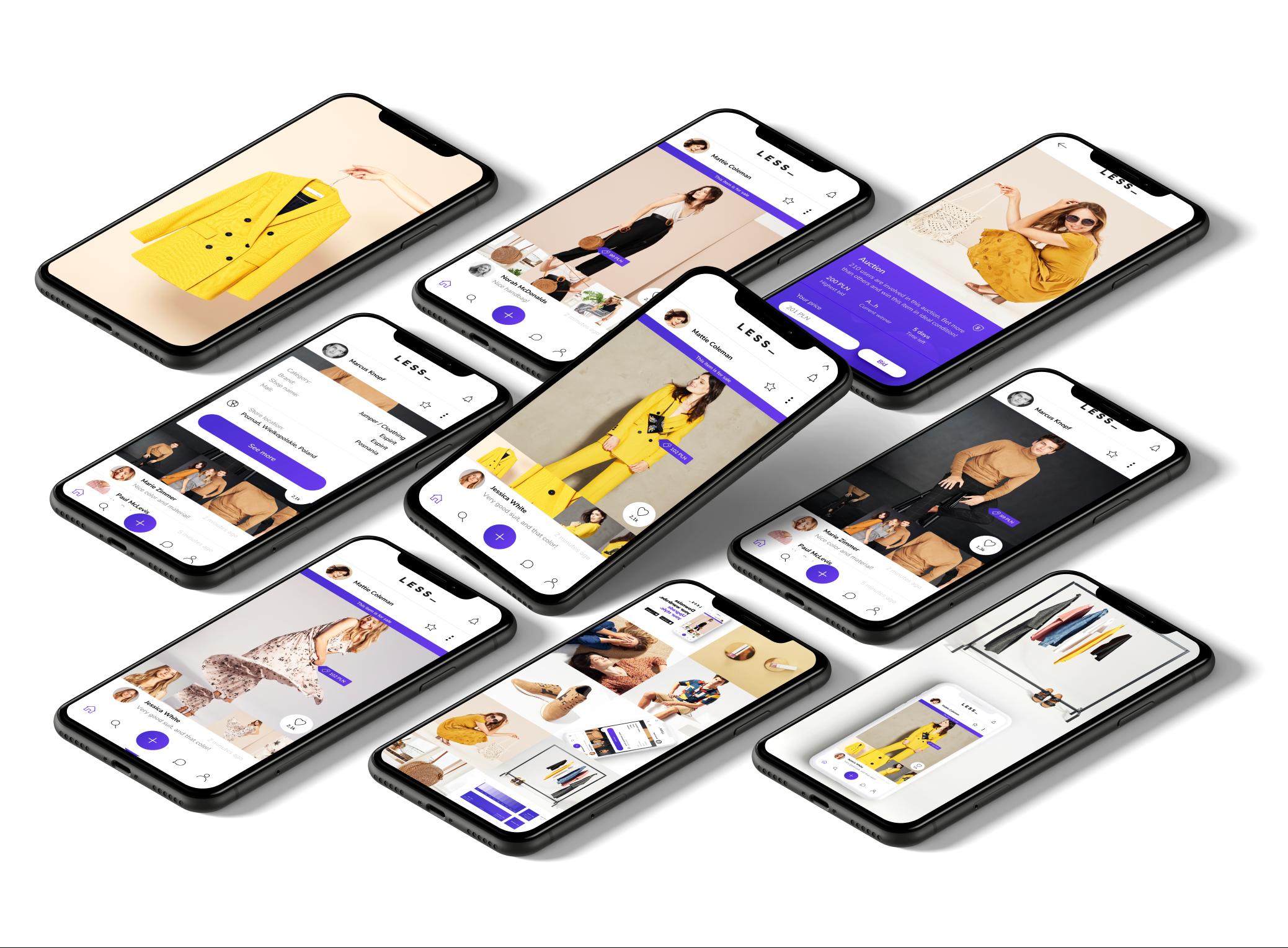 LESS_ app example screens