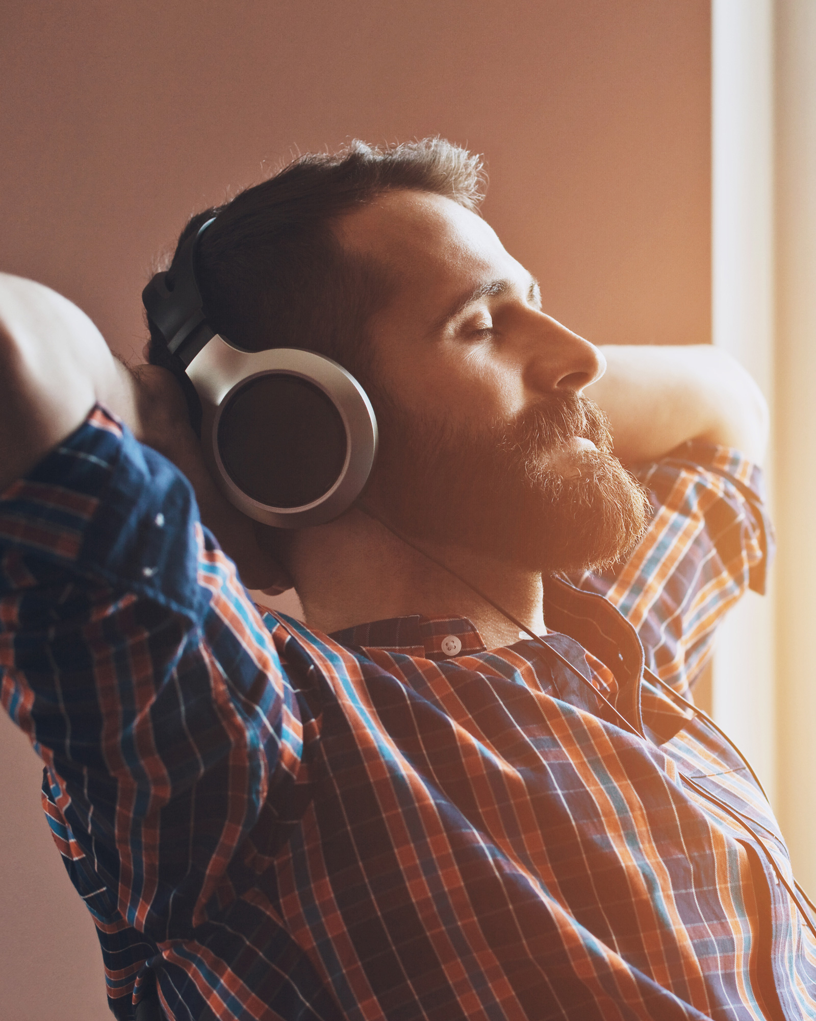 Man listening to music and relaxing