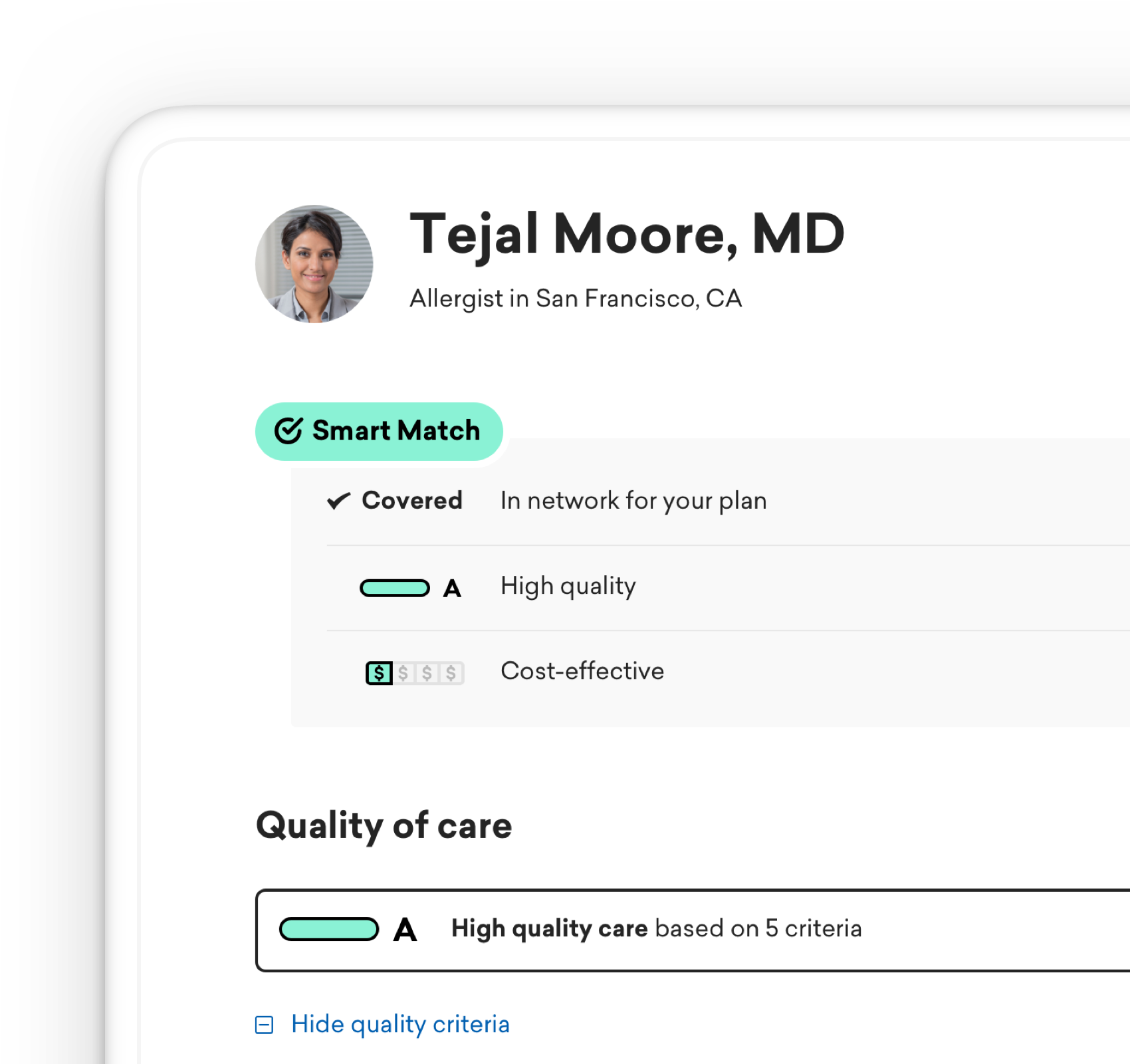 Partial screenshot of provider profile
