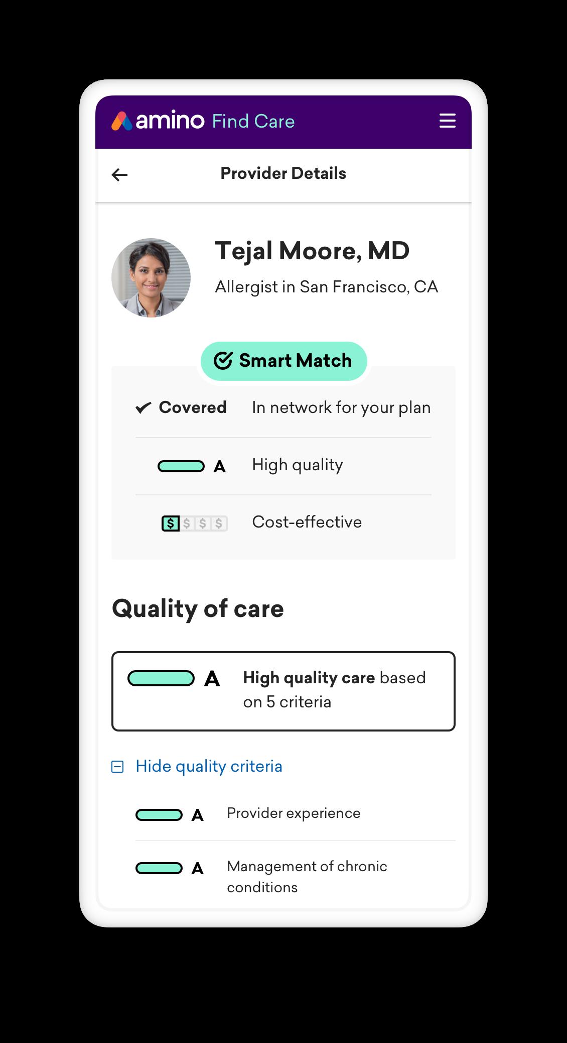 Screenshot of Amino doctor profile