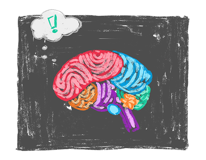 Illustration of a brain getting very excited because science
