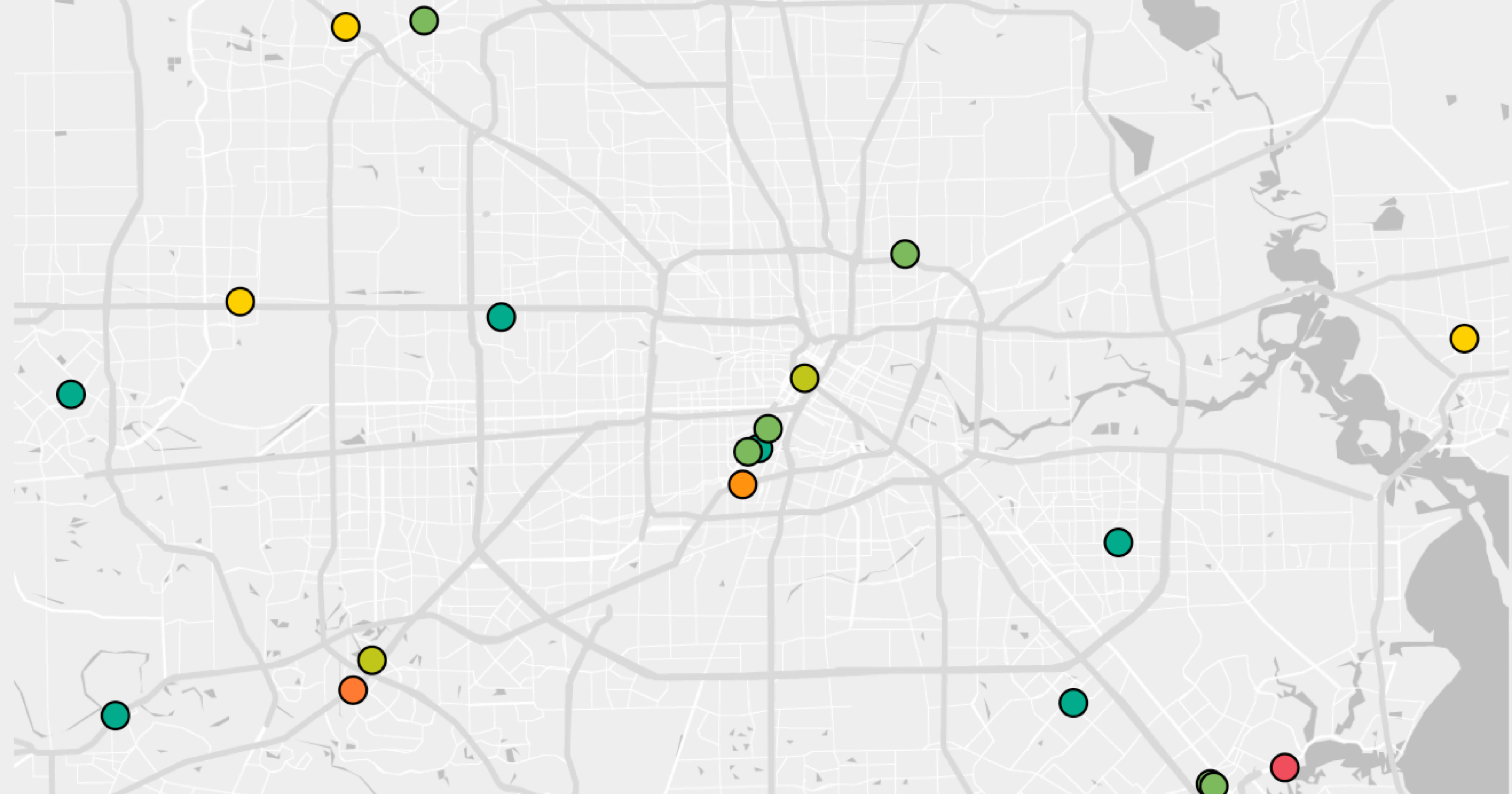 Map of the Houston, Texas area and how the cost variances at hospitals.