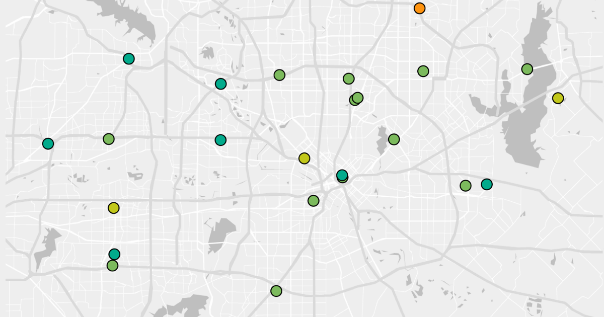 Map of hospital locations in Dallas